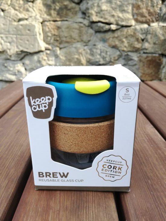 Skleněný KeepCup Brew Cork Turbine - 227 ml s korkem
